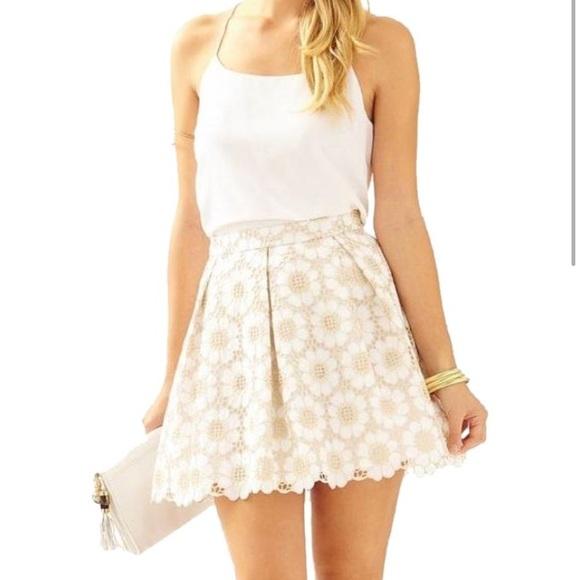 Lilly Pulitzer Skirts White Metallic Gold Pouf Skirt Poshmark Gorgeous White And Gold Pouf